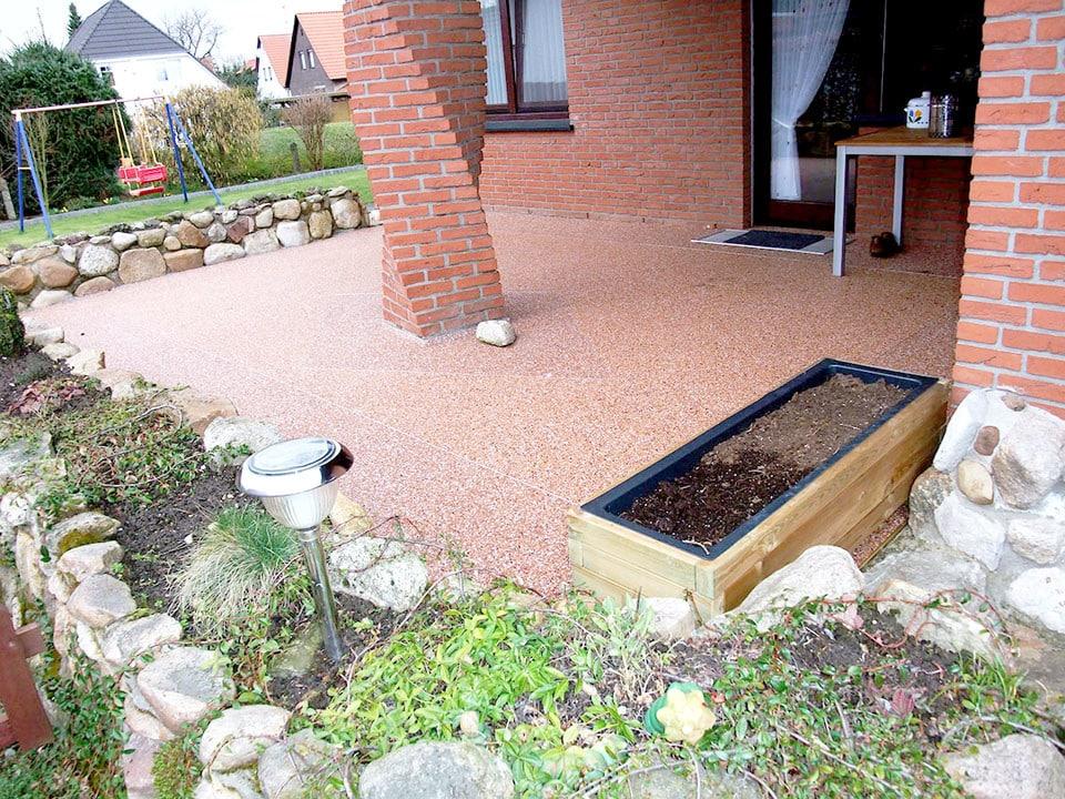 Terrasse aus Steinteppich