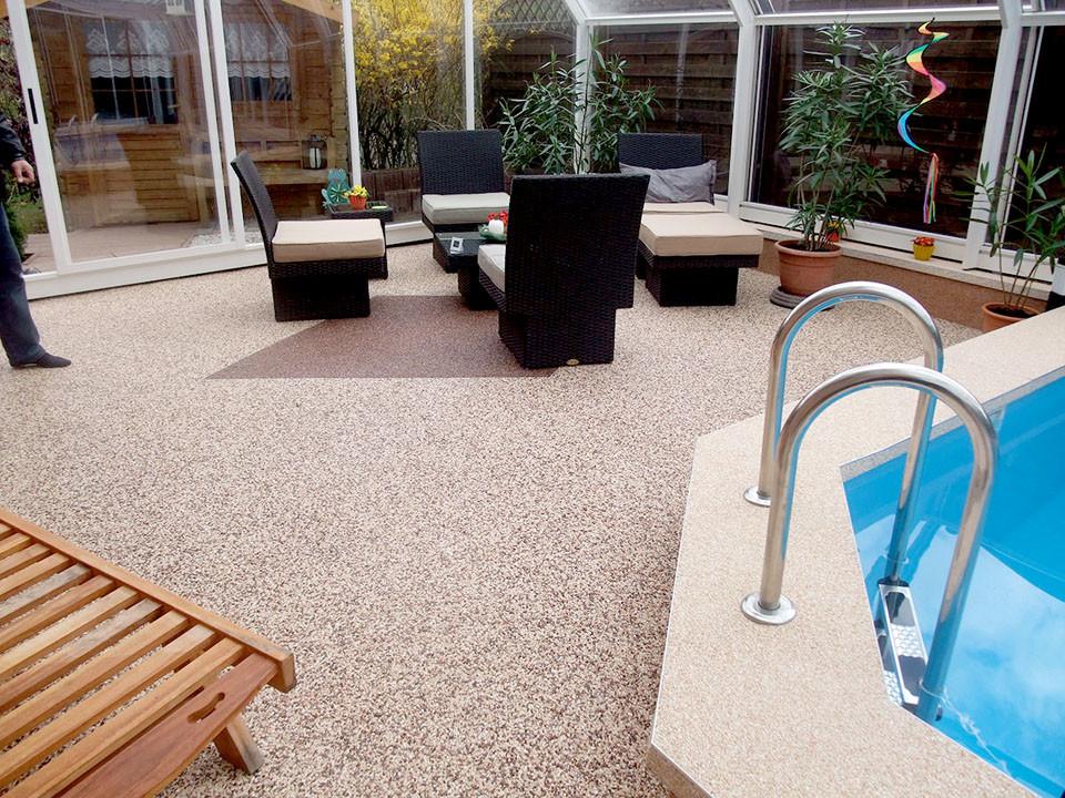 Terrasse, Pool sanieren mit Steinteppich