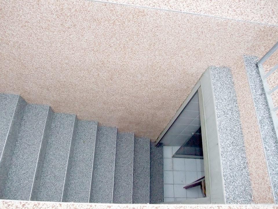 Aussenkellertreppe und Wand aus Steinteppich